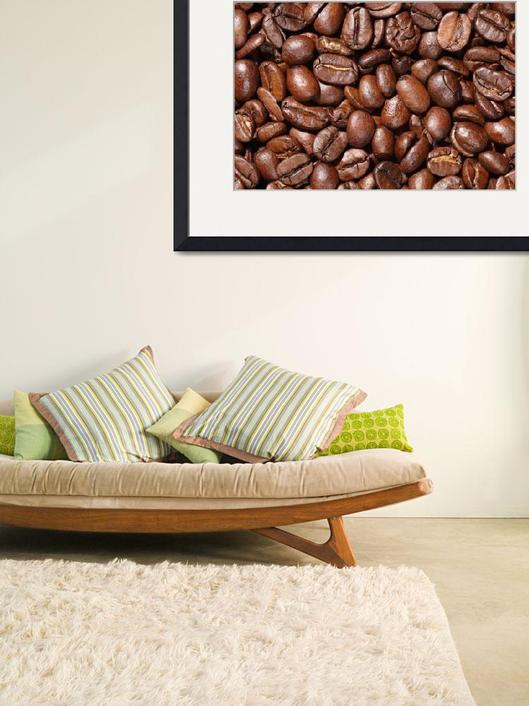 """Delicious Raw coffee beans Background""  by 4u"
