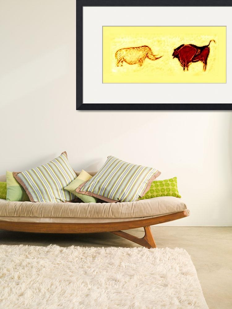 """Rhino & Bison Prehistoric Cave Art""  (2014) by TheNorthernTerritory"