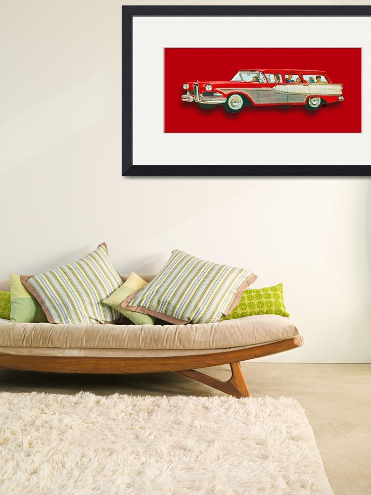 """""""Edsel Car Advertisement Wagon Red&quot  (2018) by RubinoFineArt"""