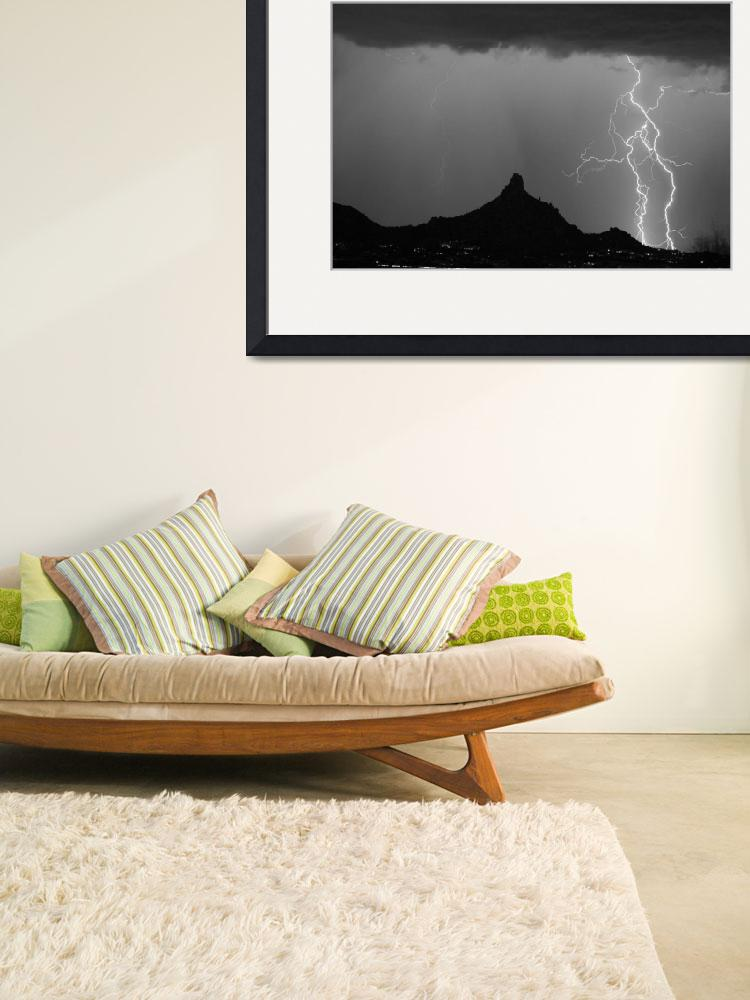 """Pinnacle Peak Double Lightning Strikes BW""  (2009) by lightningman"