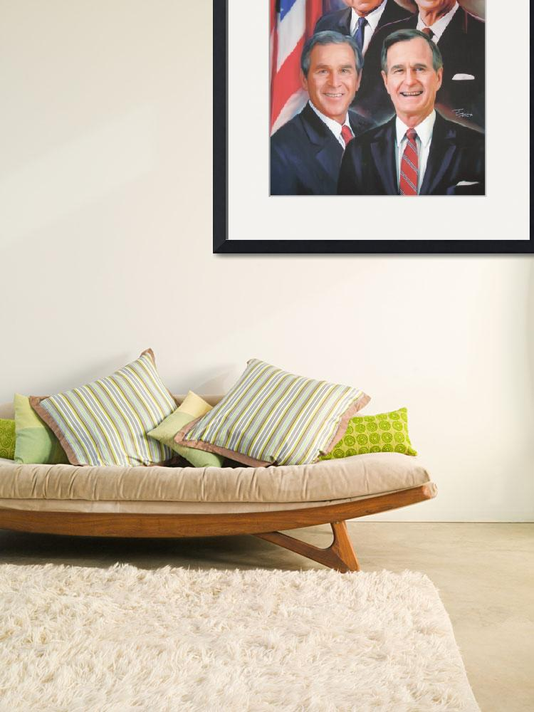 """The Presidents-Bush Sr, Bush Jr,  Reagan and Nixon&quot  (2009) by ourmemoriesoncanvas"