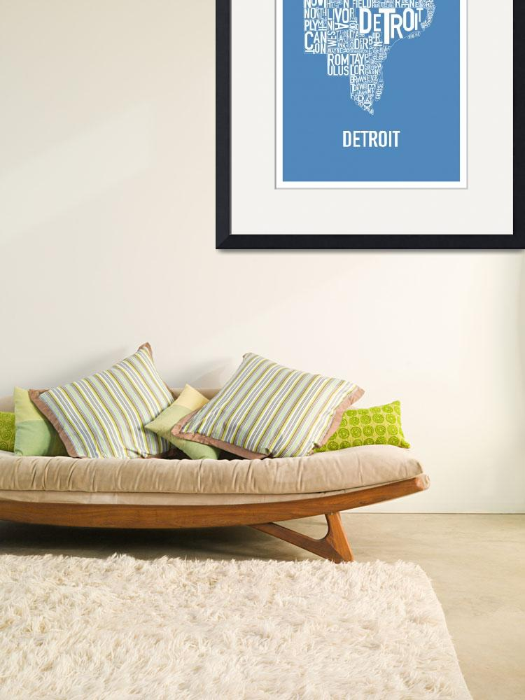 """""""Detroit Typography Map blue&quot  by HunterLangston"""