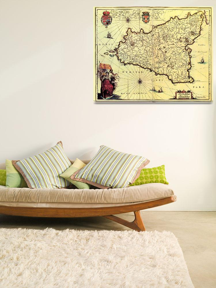 """""""Vintage Map of Sicily Italy (1600s)&quot  by Alleycatshirts"""