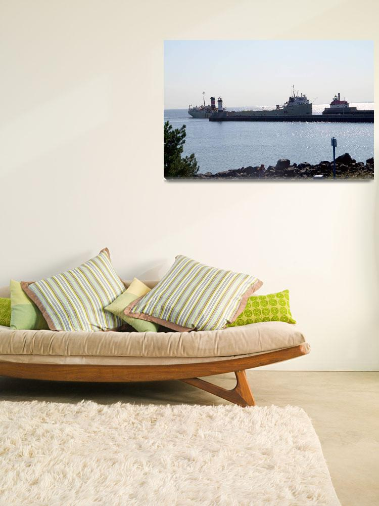 """""""Alpena ship entering Duluth MN Harbor""""  by cameragal"""