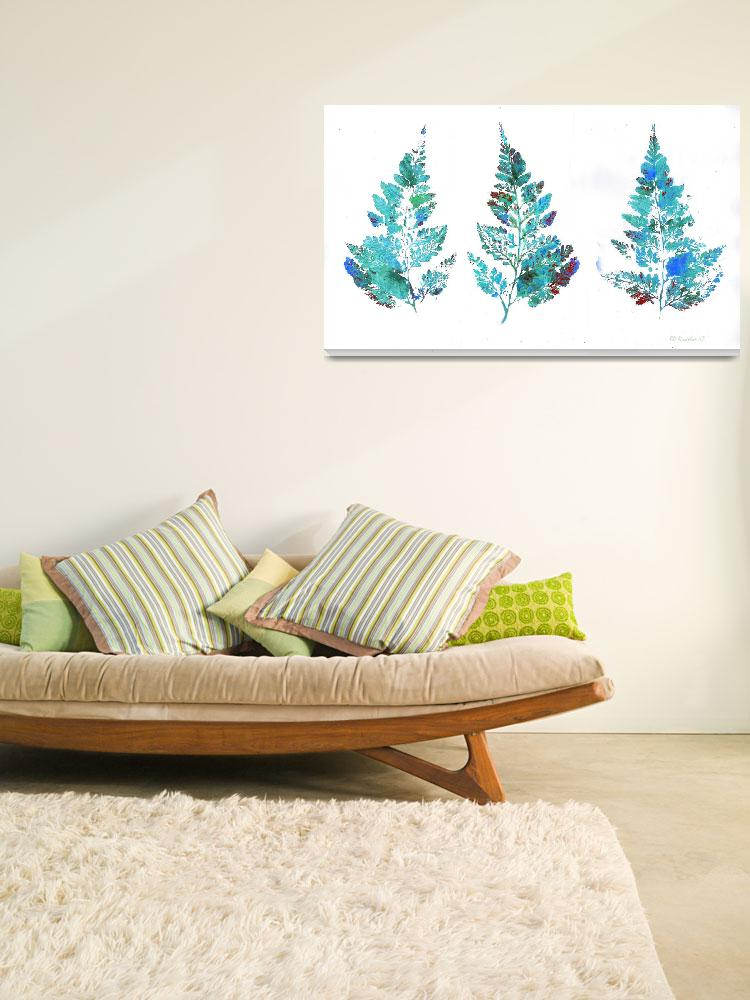 """""""Blue Fern Leaves Abstract Triptych&quot  (2007) by RDRiccoboni"""