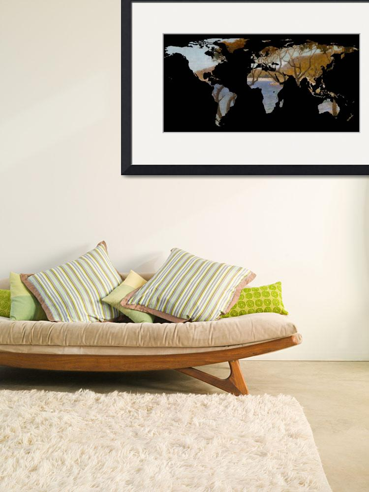 """""""World Map Silhouette - Coastal Trees Painting&quot  by Alleycatshirts"""