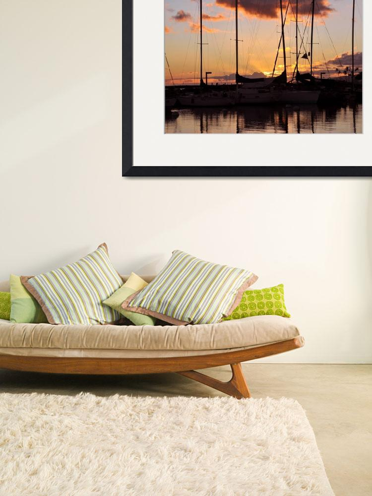 """""""Small Boat Harbor in Waikiki&quot  (2009) by LorrieMorrison"""