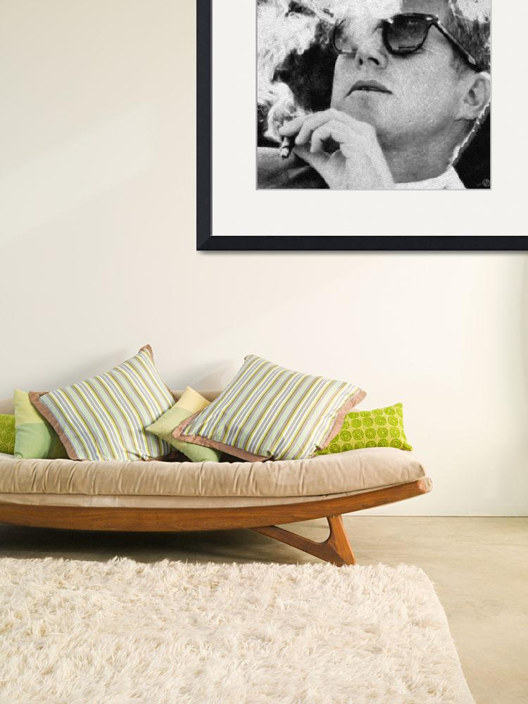 """""""John F. Kennedy Cigar And Sunglasses 1&quot  (2018) by RubinoFineArt"""
