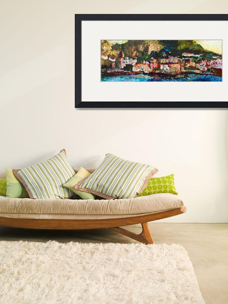 """""""Abstract Panoramic Amalfi Coast Italy Painting&quot  (2012) by GinetteCallaway"""