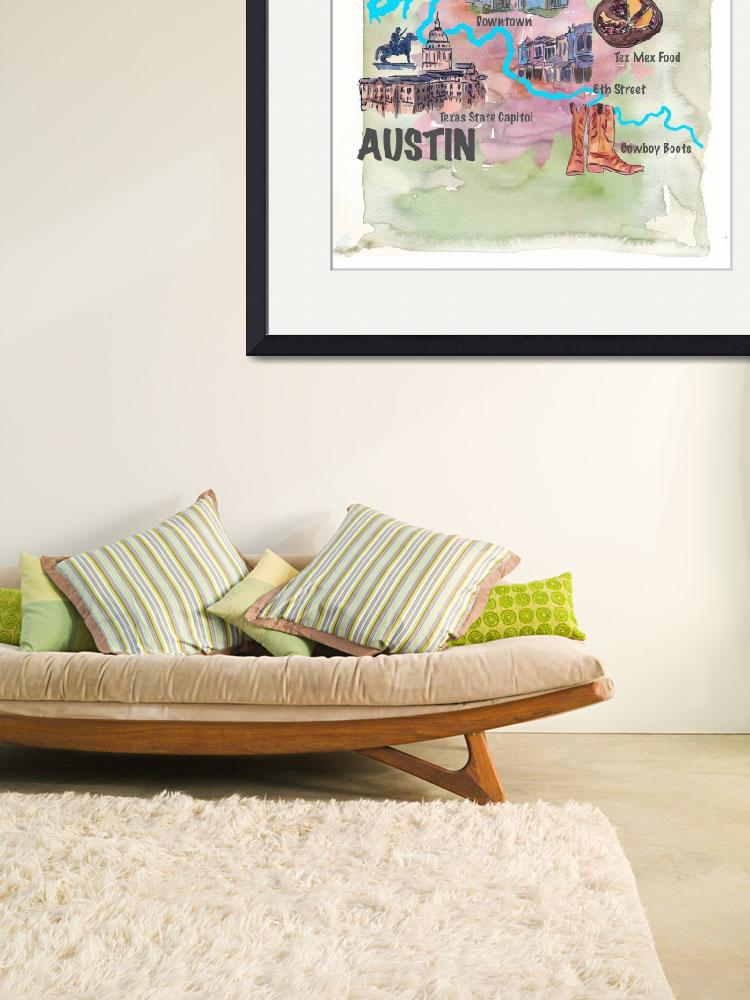 """""""Austin_Texas Favorite Map with touristic_Highlight&quot  by arthop77"""