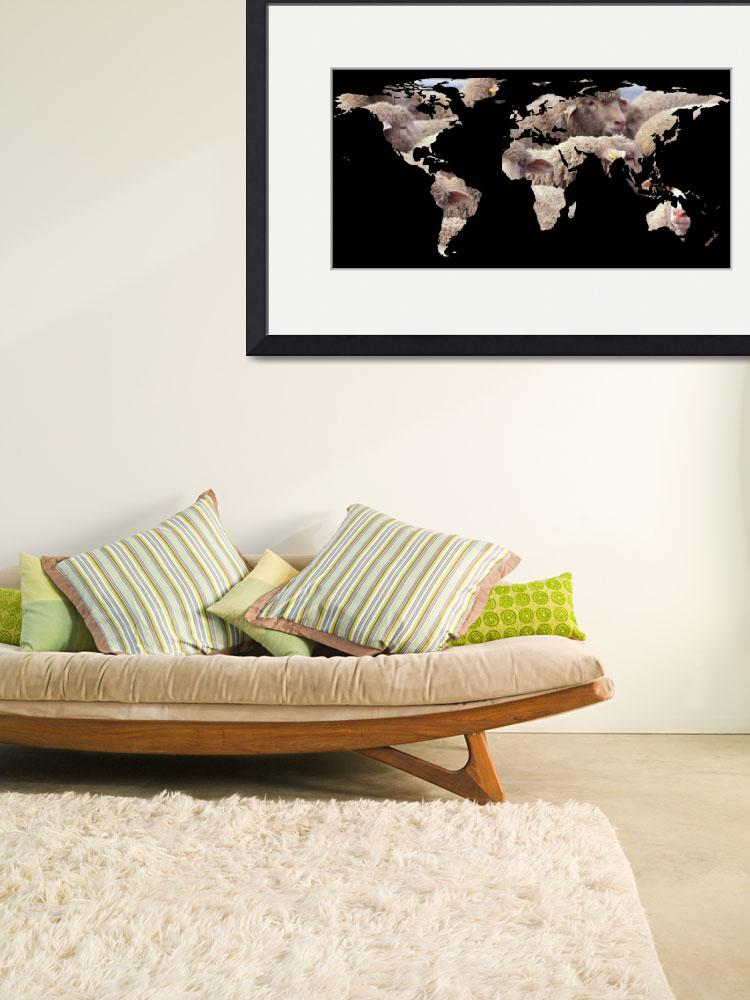 """""""World Map Silhouette - Sheep Herd&quot  by Alleycatshirts"""