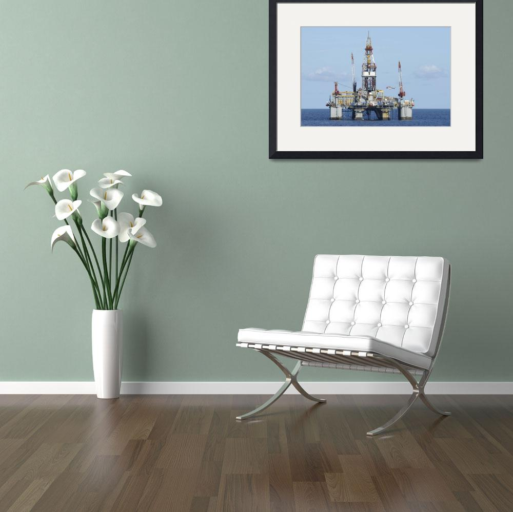 """""""Offshore oil rig with and helicopter&quot  (2008) by Landbysea"""