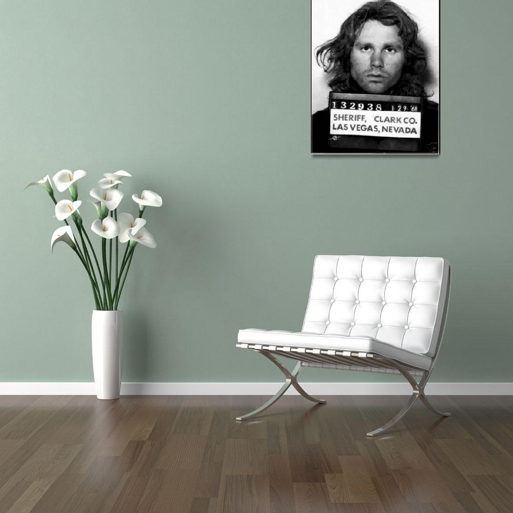 """Jim Morrison Mug Shot 1968 Painting Black And Whit&quot  (2016) by RubinoFineArt"