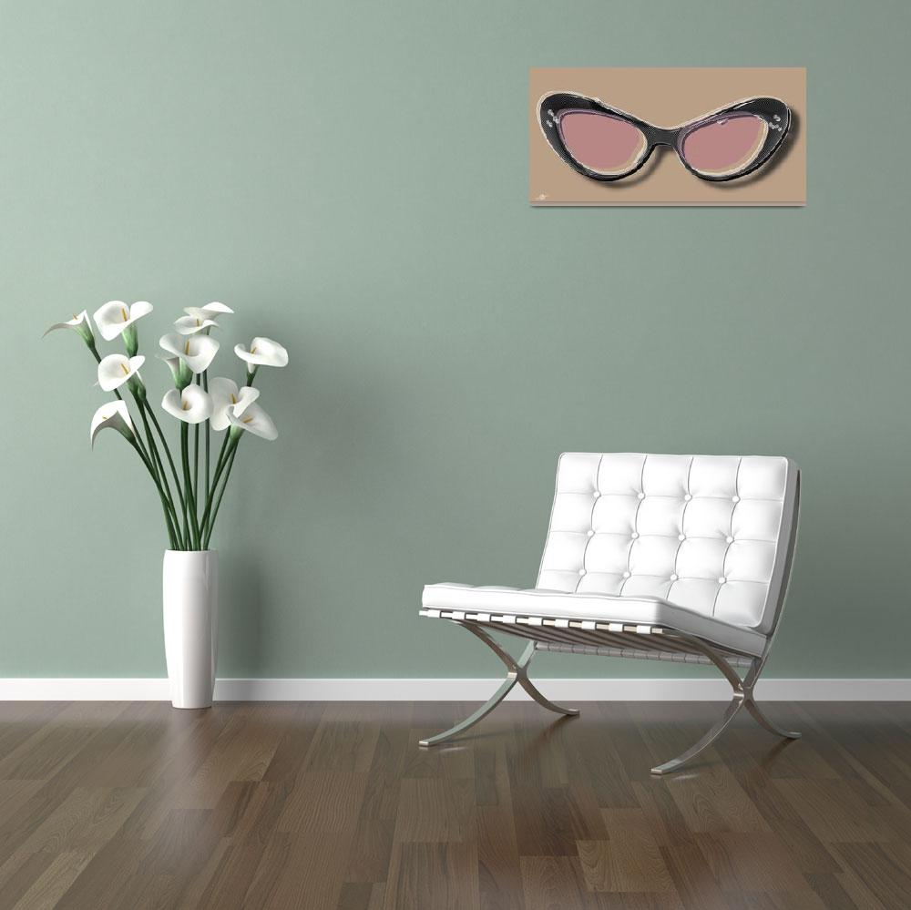 """Retro Glasses Funky Pop Pink Rose Brown&quot  by RubinoFineArt"
