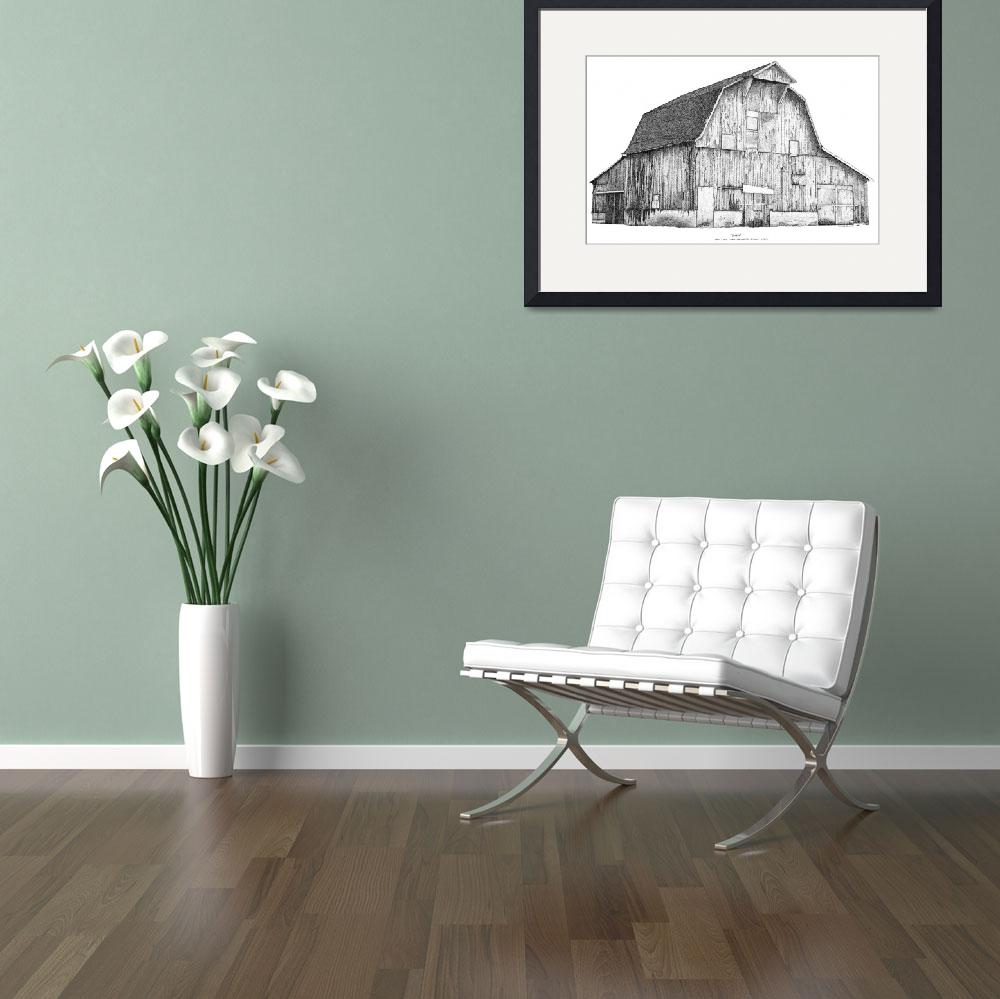 """""""Pen and Ink Stippled Barn drawing&quot  (1997) by DulceDiane"""