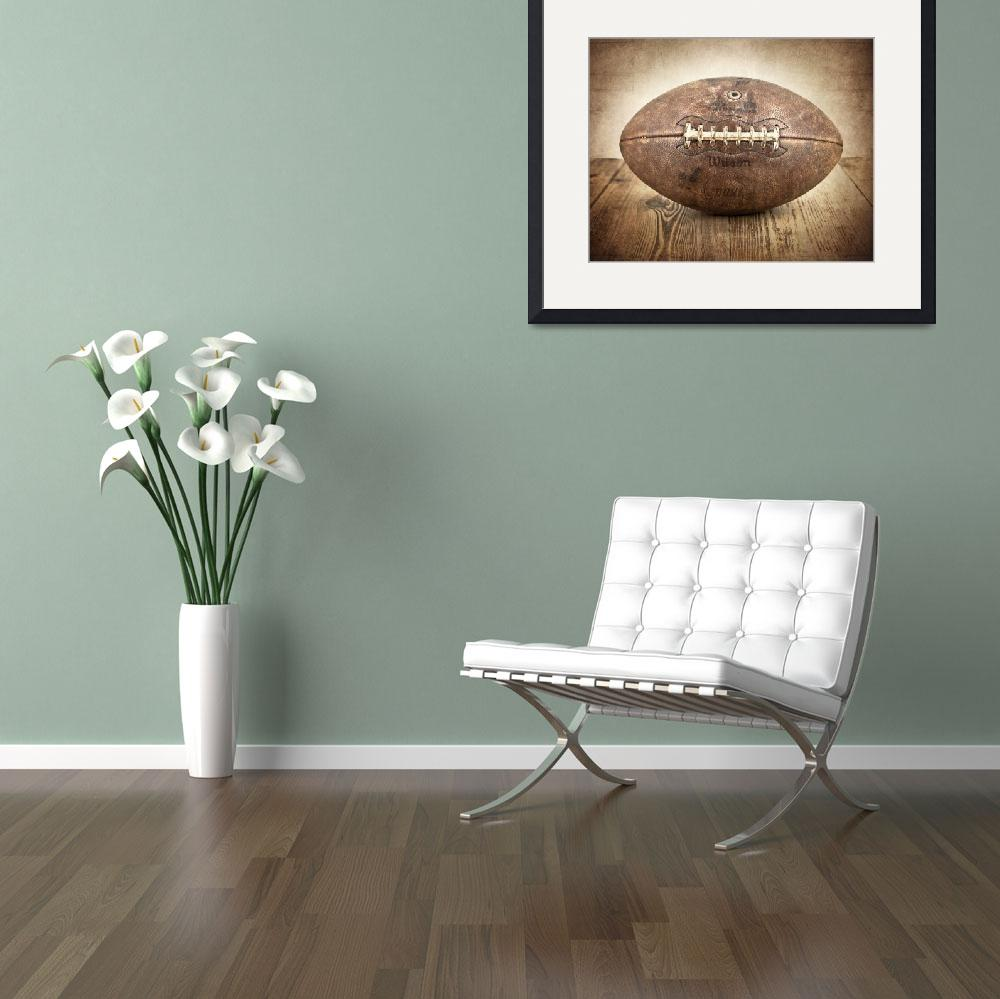 """""""Vintage 1950s Football on Wood&quot  (2012) by shawnstpeter"""