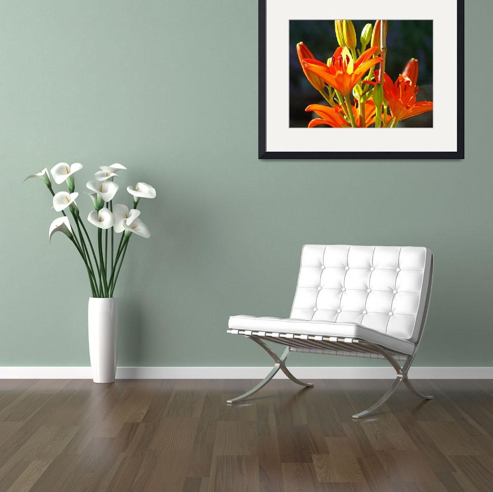 """""""Lilies art prints Orange Red Summer Lily Flowers&quot  (2010) by BasleeTroutman"""