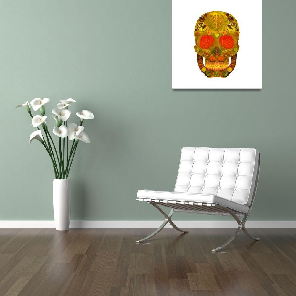 """Aspen Leaf Skull 12""  (2015) by AgustinGobaFineArts"