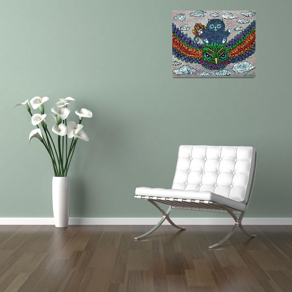 """Rainbow Owl Ride&quot  (2013) by ArtPrints"