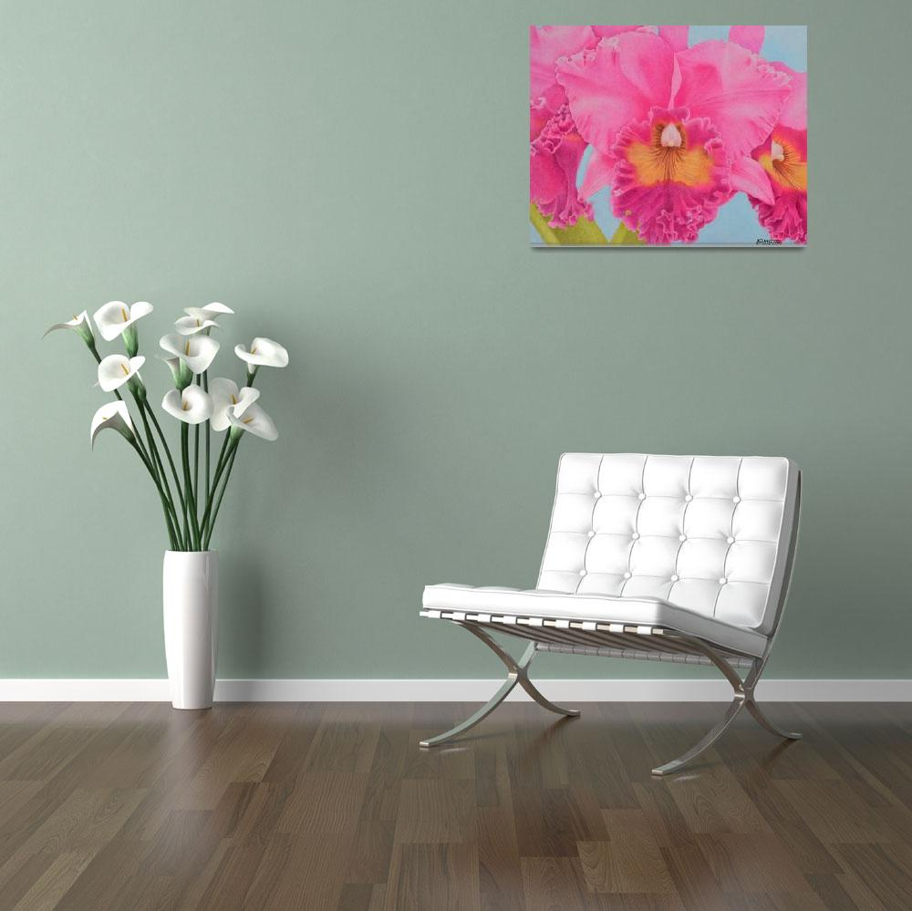 """Pink Orchid&quot  by sharonpattersonsart"