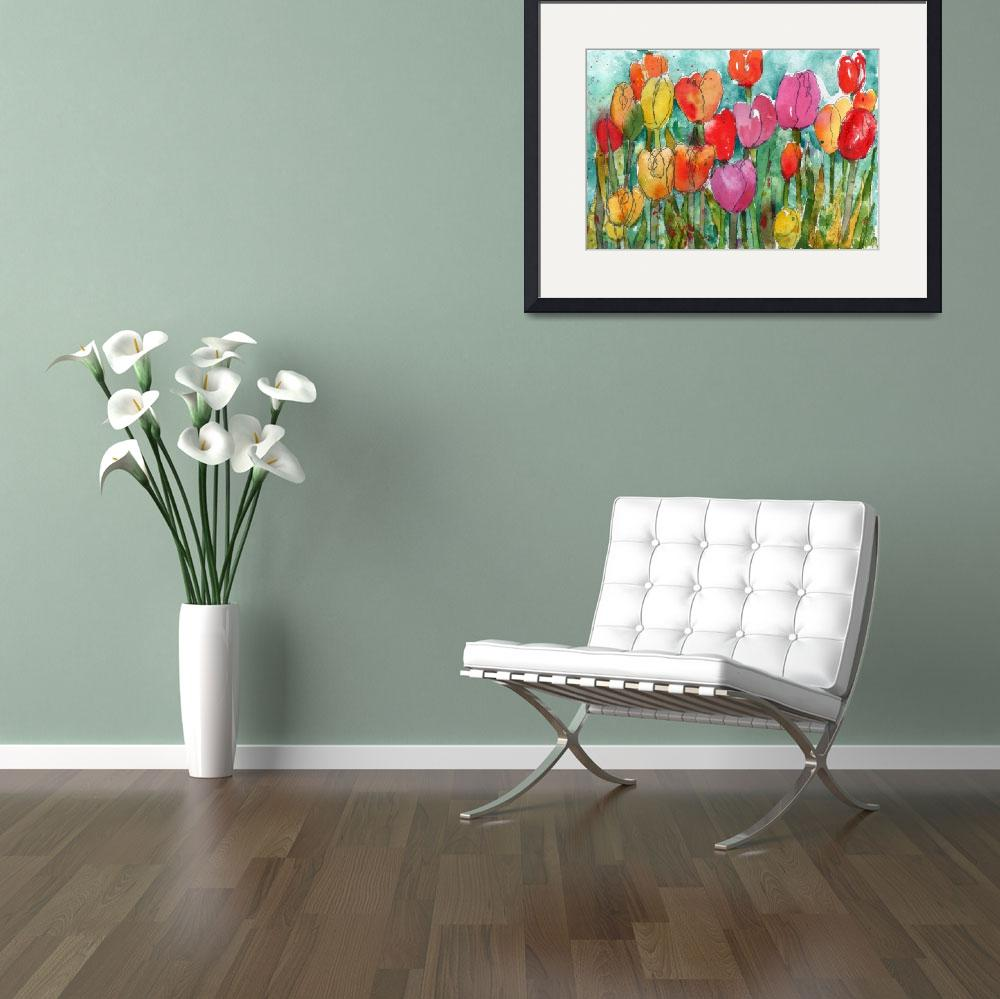 """Watercolor Floral, Tulip Trouble&quot  (2013) by schulmanart"