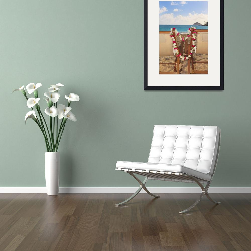 """""""Hawaii, Oahu, Kailua, Two Lounge Chairs On The Whi&quot  by DesignPics"""