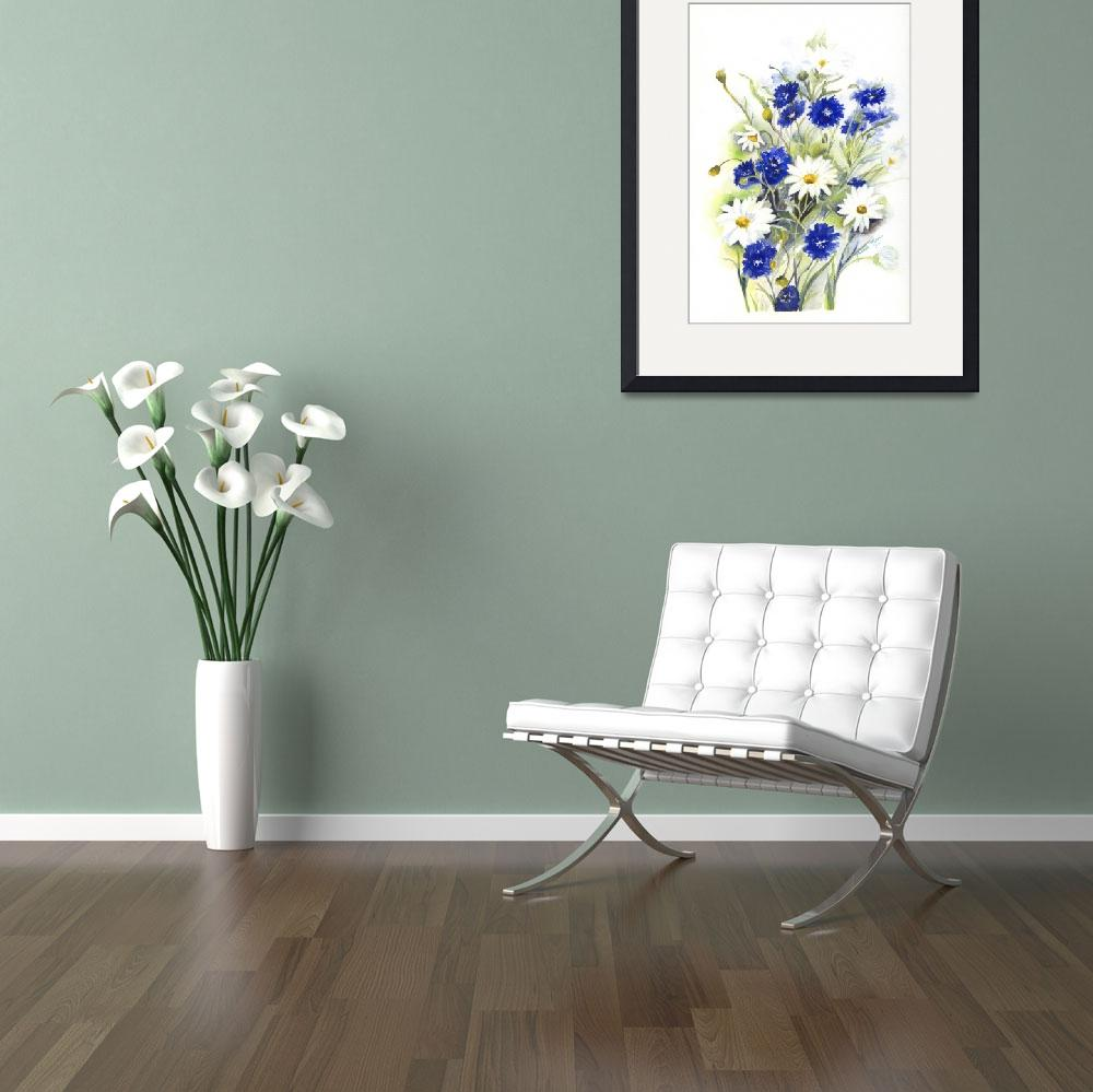 """""""Blue and White Daisies&quot  (2007) by artypam"""