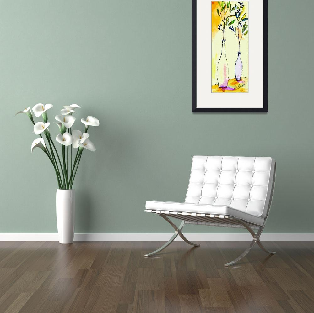 """""""Olive branches in Vase Modern Decor&quot  (2014) by GinetteCallaway"""