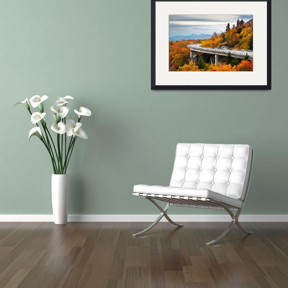 """Linn Cove Viaduct - Blue Ridge Parkway Fall Foliag&quot  (2011) by DAPhoto"