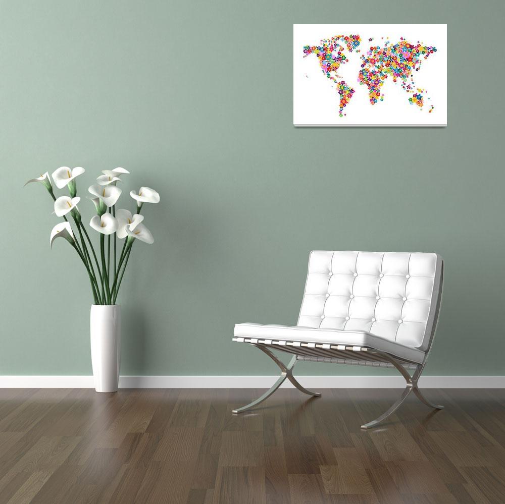 """Flowers Map of the World Map&quot  (2012) by ModernArtPrints"