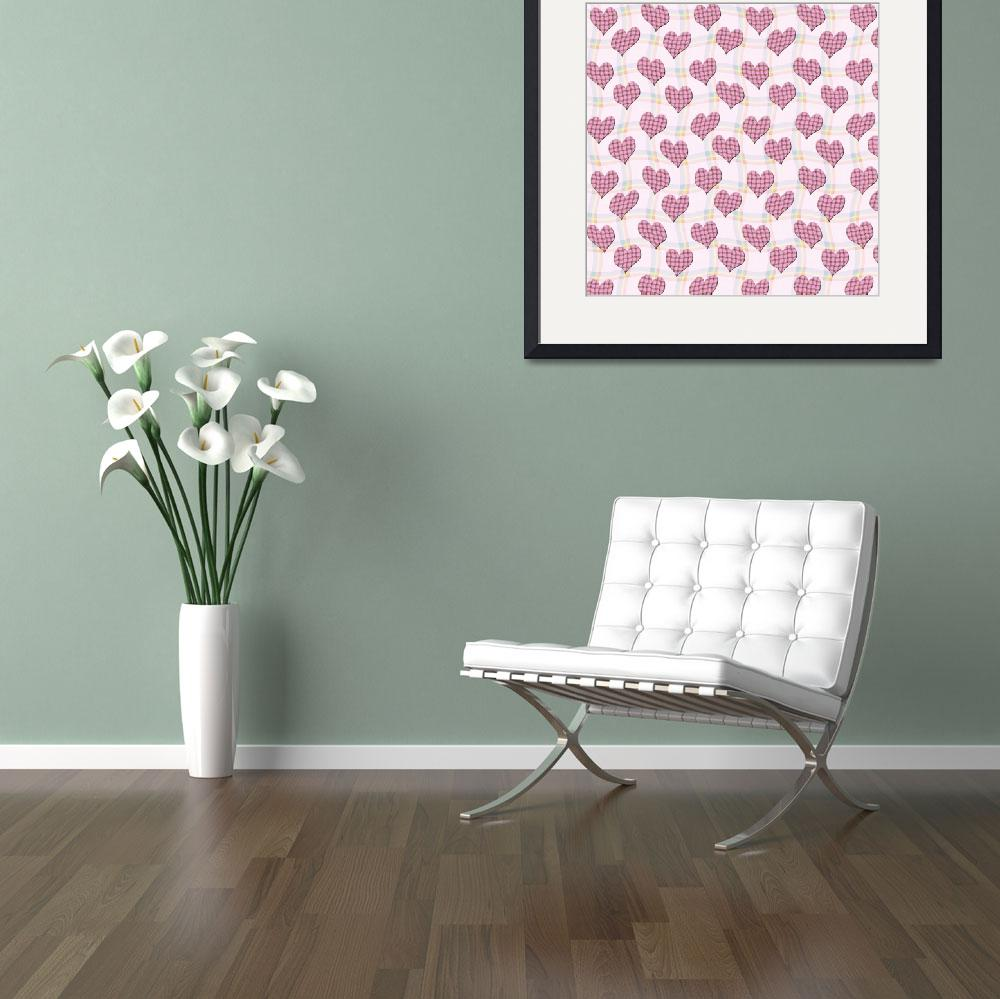 """""""Pink gingham hearts pattern wallpaper&quot  by funkyworm"""