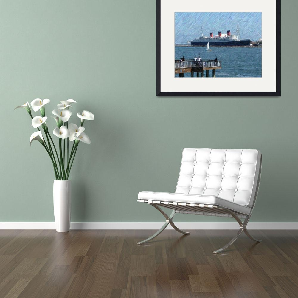 """""""A Pier and the Queen Mary&quot  (2009) by kinnikinnickarts"""