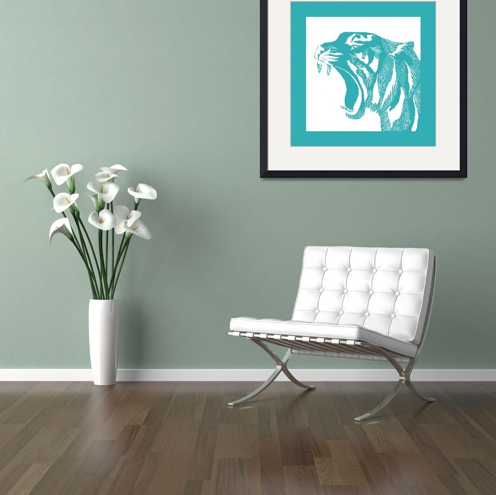 """""""Linocut Turquoise Tiger&quot  (2016) by SusanBerryDesign"""