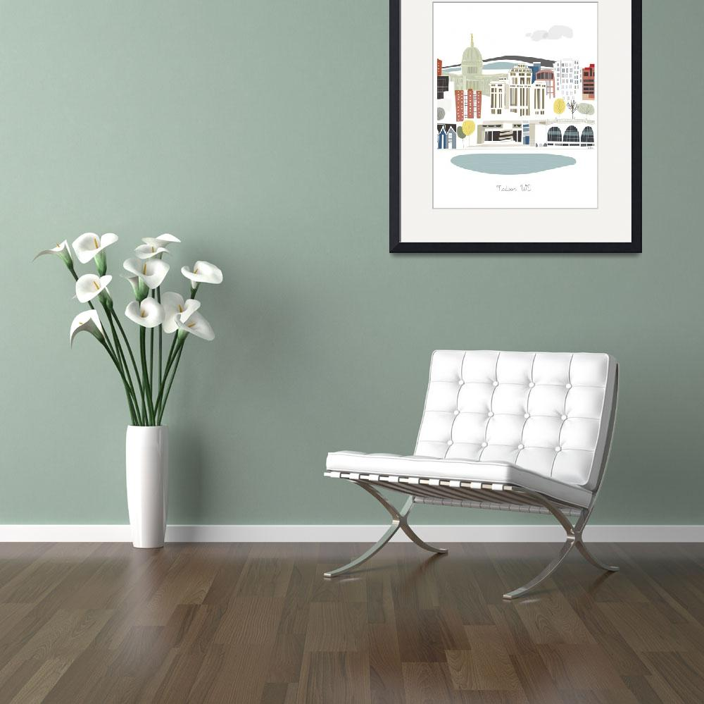 """""""Madison Modern Cityscape Illustration&quot  by AlbieDesigns"""
