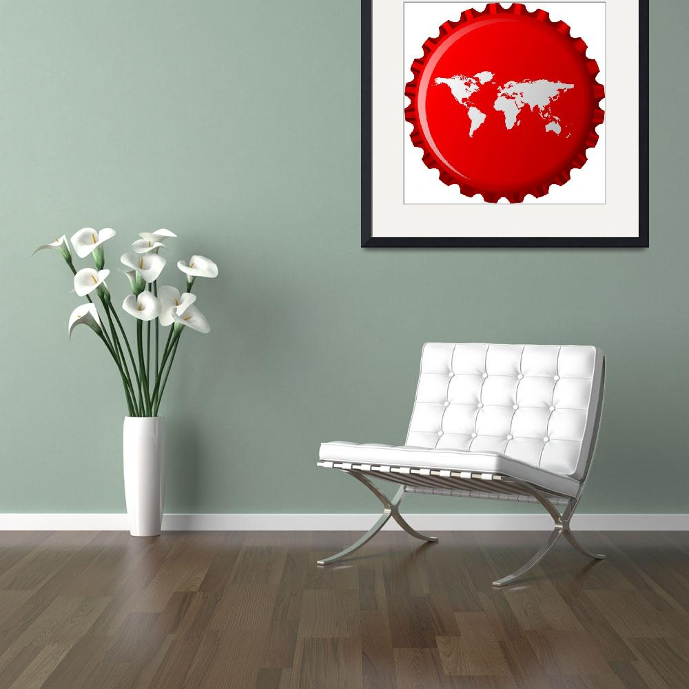 """""""white world map on red bottle cap&quot  by robertosch"""