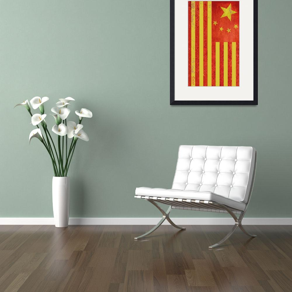 """""""Chinese American Flag Vertical&quot  by RubinoFineArt"""