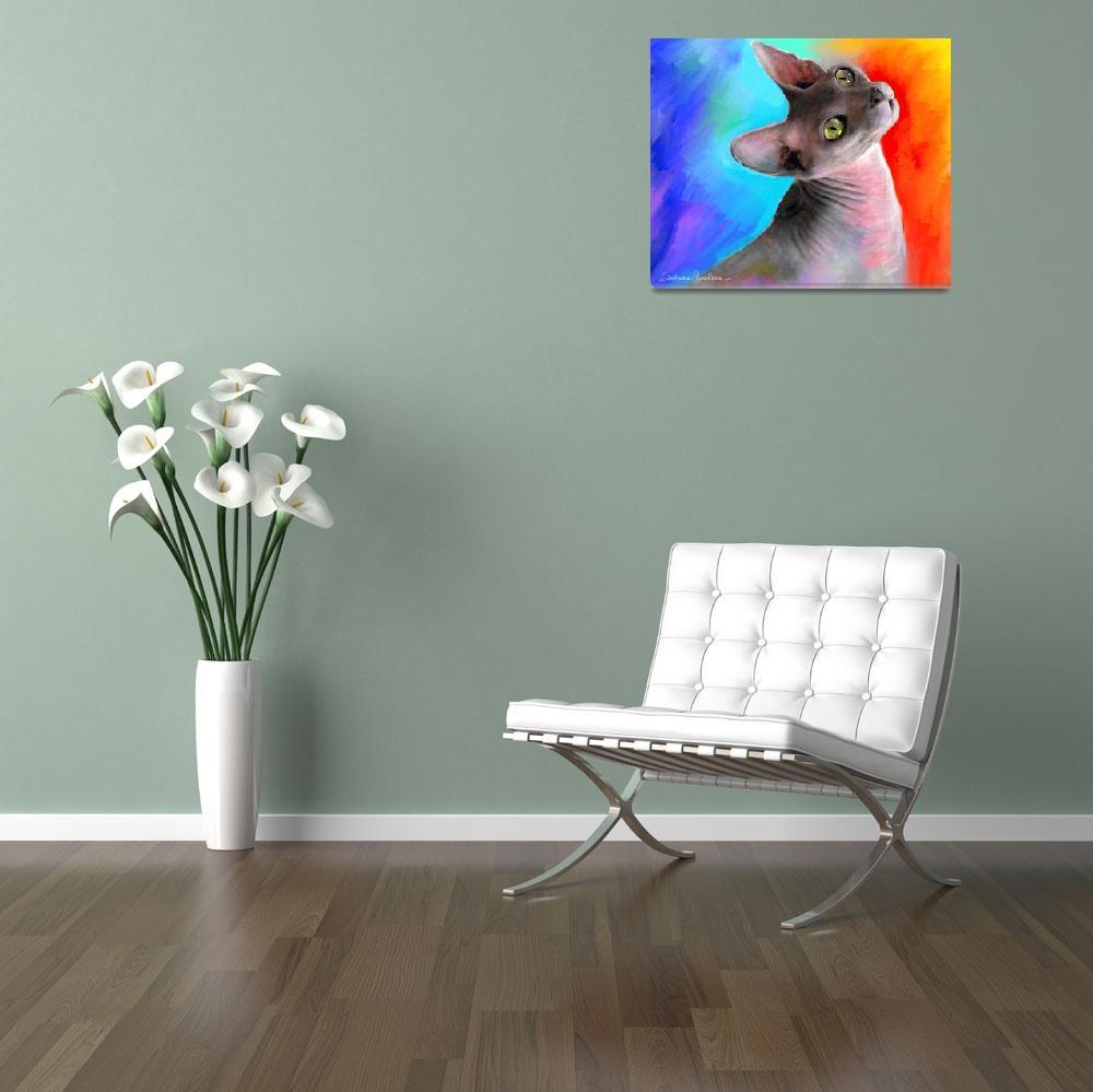 """Colorful Sphynx Cat portrait""  by SvetlanaNovikova"