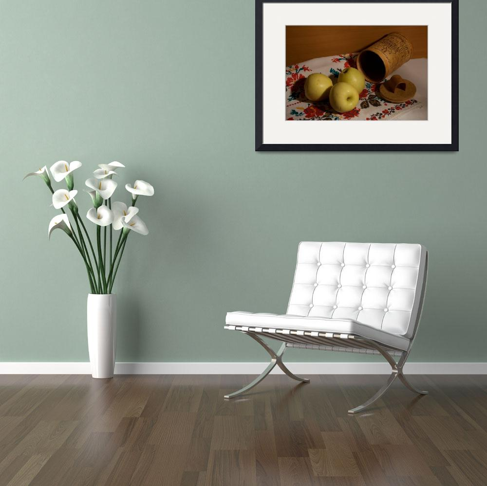"""""""Still life with apples a towel and tuesok&quot  by RomanPopov"""