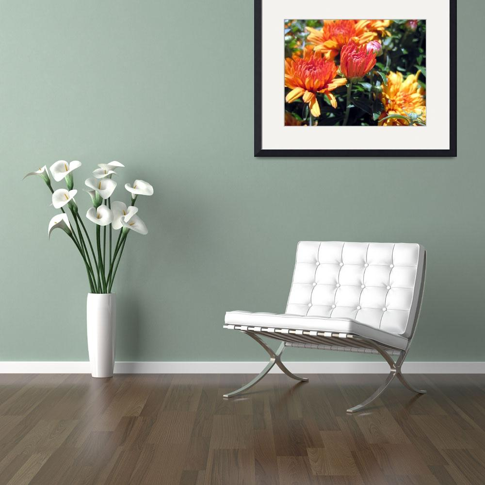 """""""Yellow and Orange Mums&quot  (2014) by johnscanvassprints"""