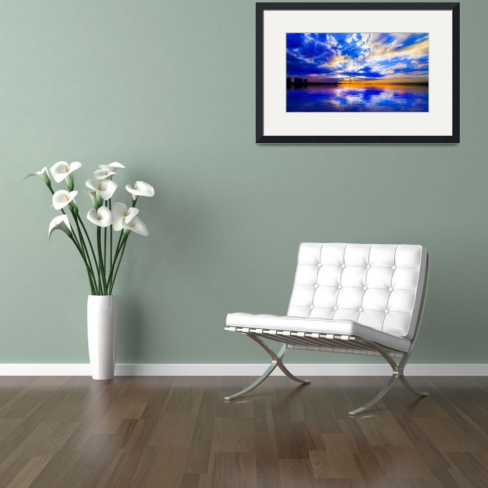 """Blue and White Seascape with Sunset Reflection Art&quot  (2014) by eszra"