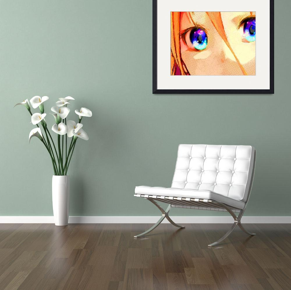 """""""Anime Girl Eyes Gold&quot  (2015) by RubinoFineArt"""