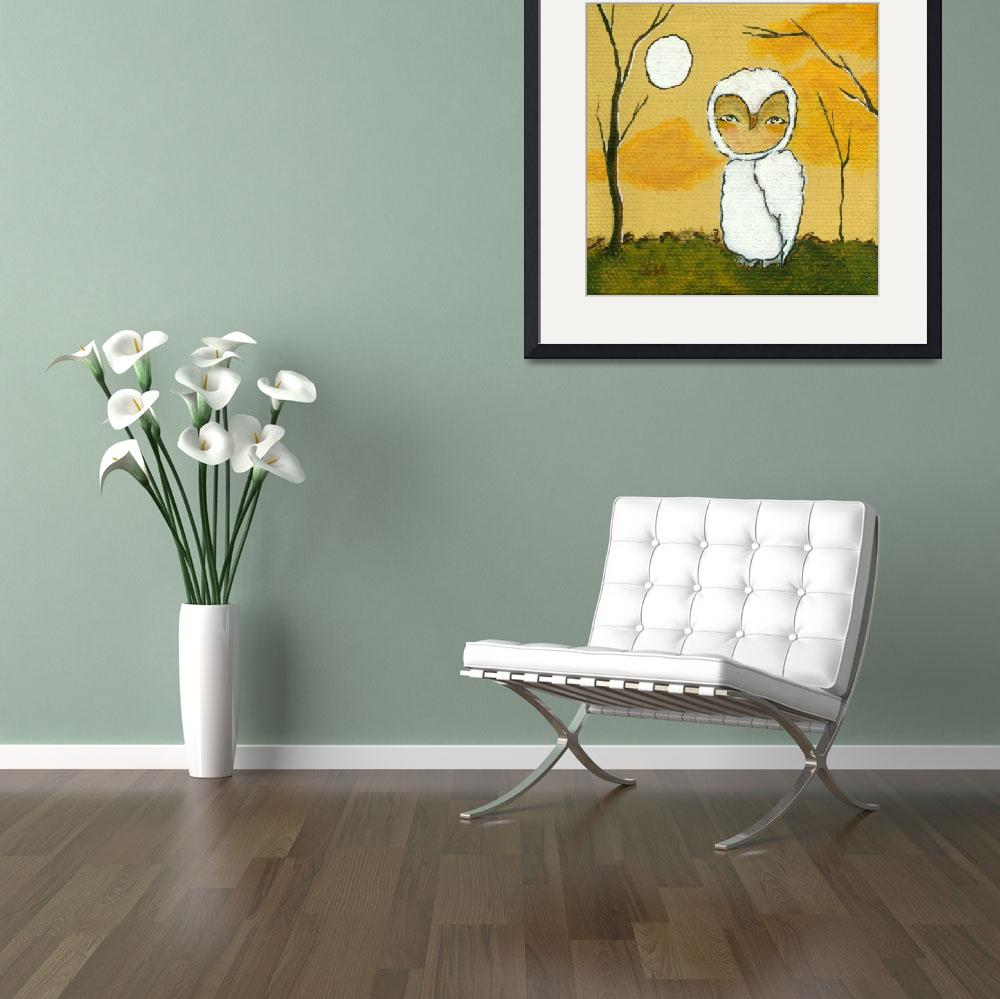 """""""Evening Stroll, Whimsical White Owl,Landscape Art&quot  (2012) by Itaya"""