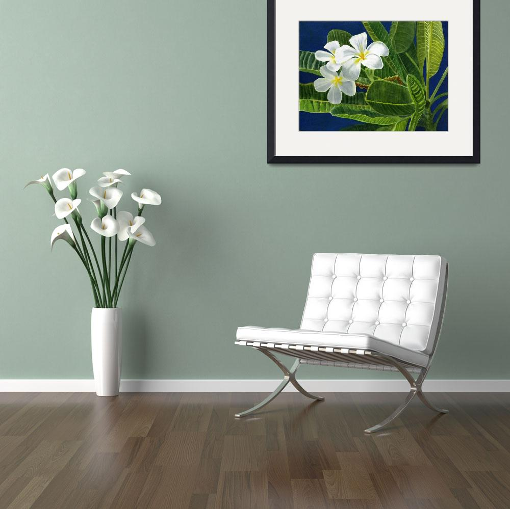 """""""White Plumeria Blossoms with Blue Background&quot  (2012) by Pacific-NW-Watercolors"""