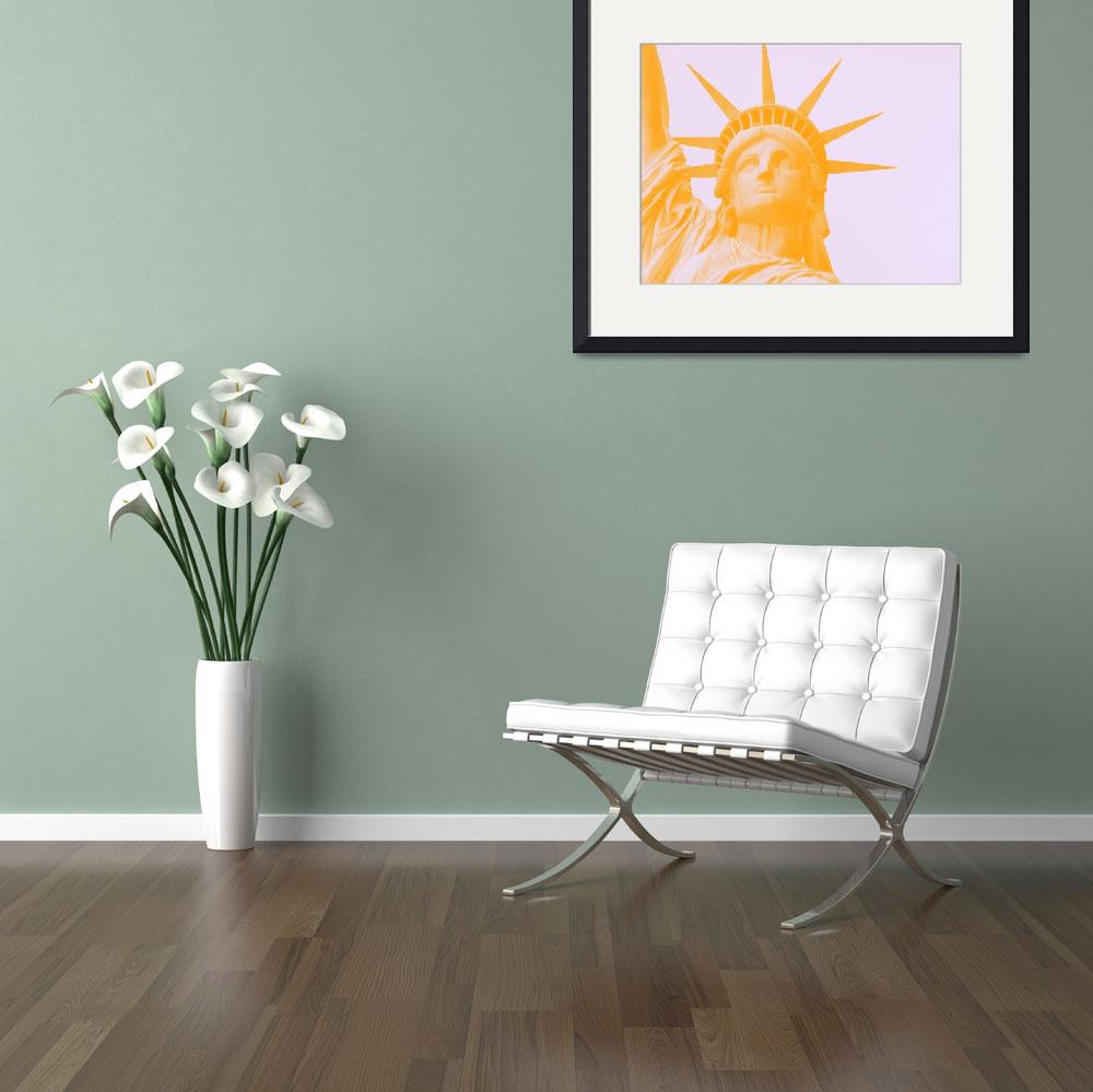 """""""statue of liberty in orange&quot  by motionage"""