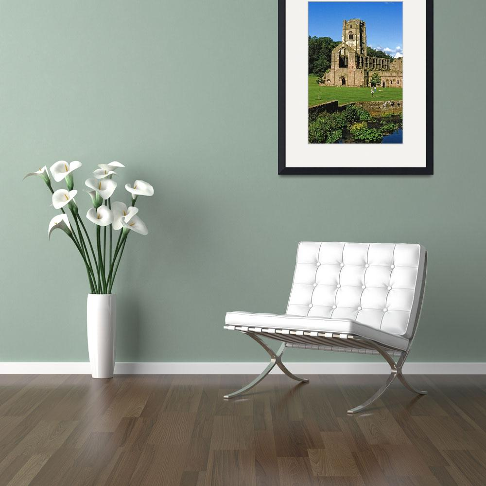 """""""Fountains Abbey in Summer 11&quot  (1990) by PriscillaTurner"""