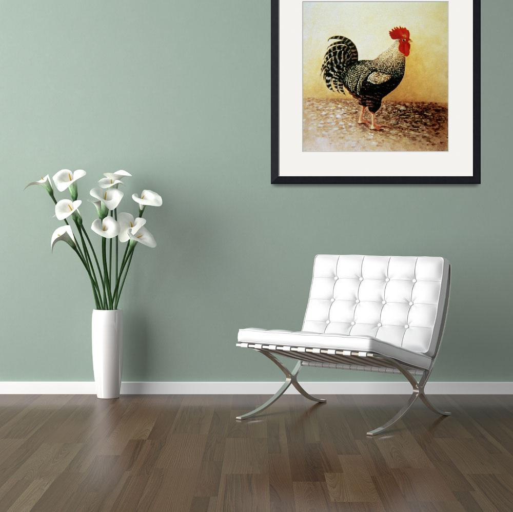 """""""Speckled Rooster (acrylic on canvas)&quot  by fineartmasters"""