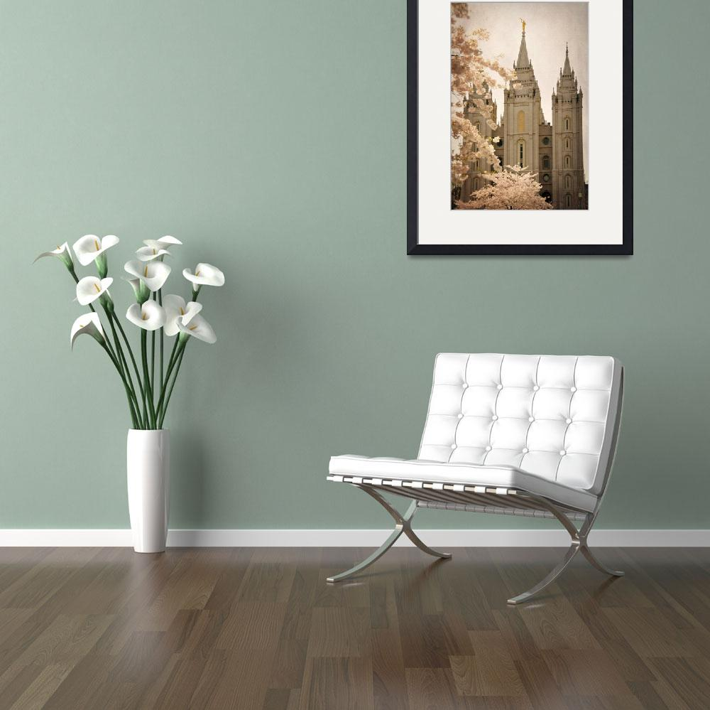 """Salt lake temple with blossoming trees 2 texture&quot  by houstonryan"