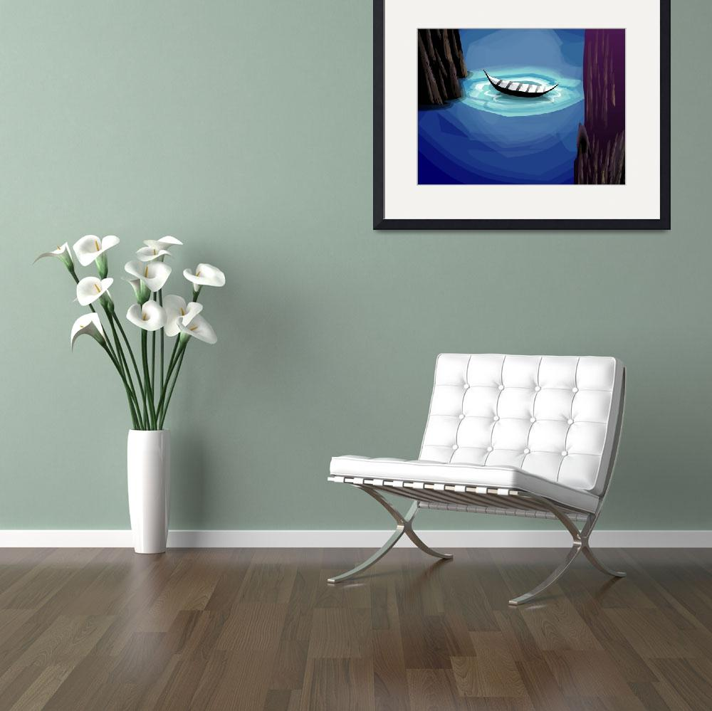 """""""Charming beauty of  lake with the boat in the moon&quot  (2010) by digitalpainting"""