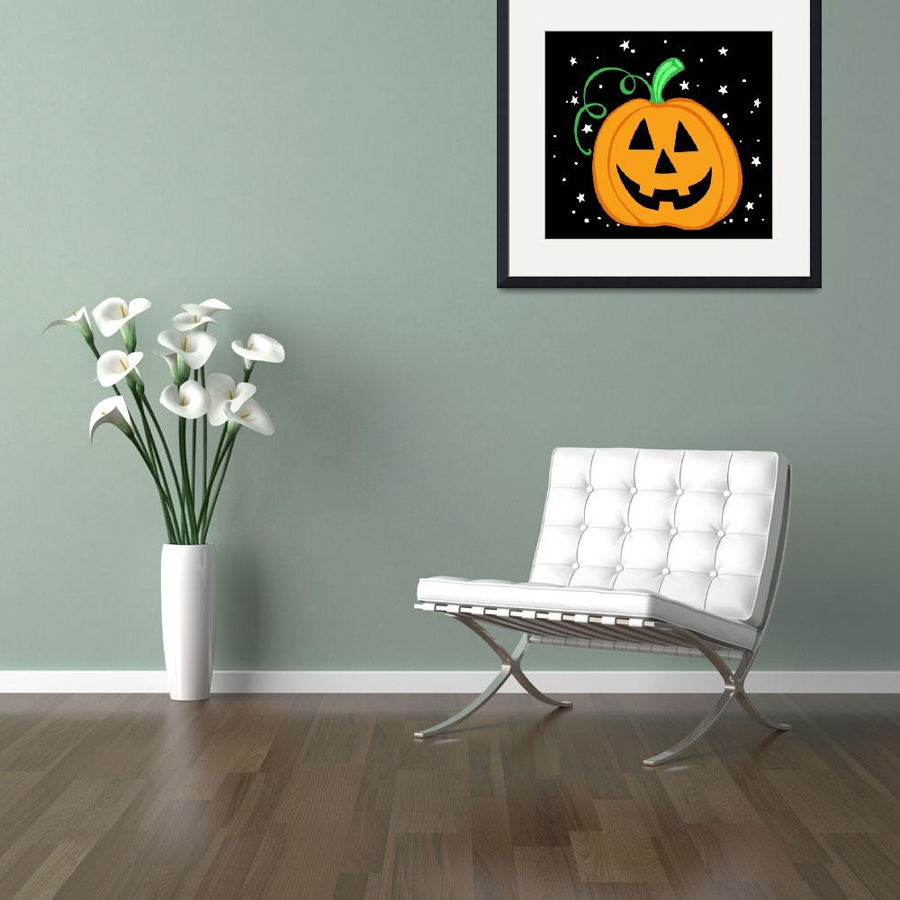 """Halloween Pumpkin on Black""  (2010) by SnarkyArt"