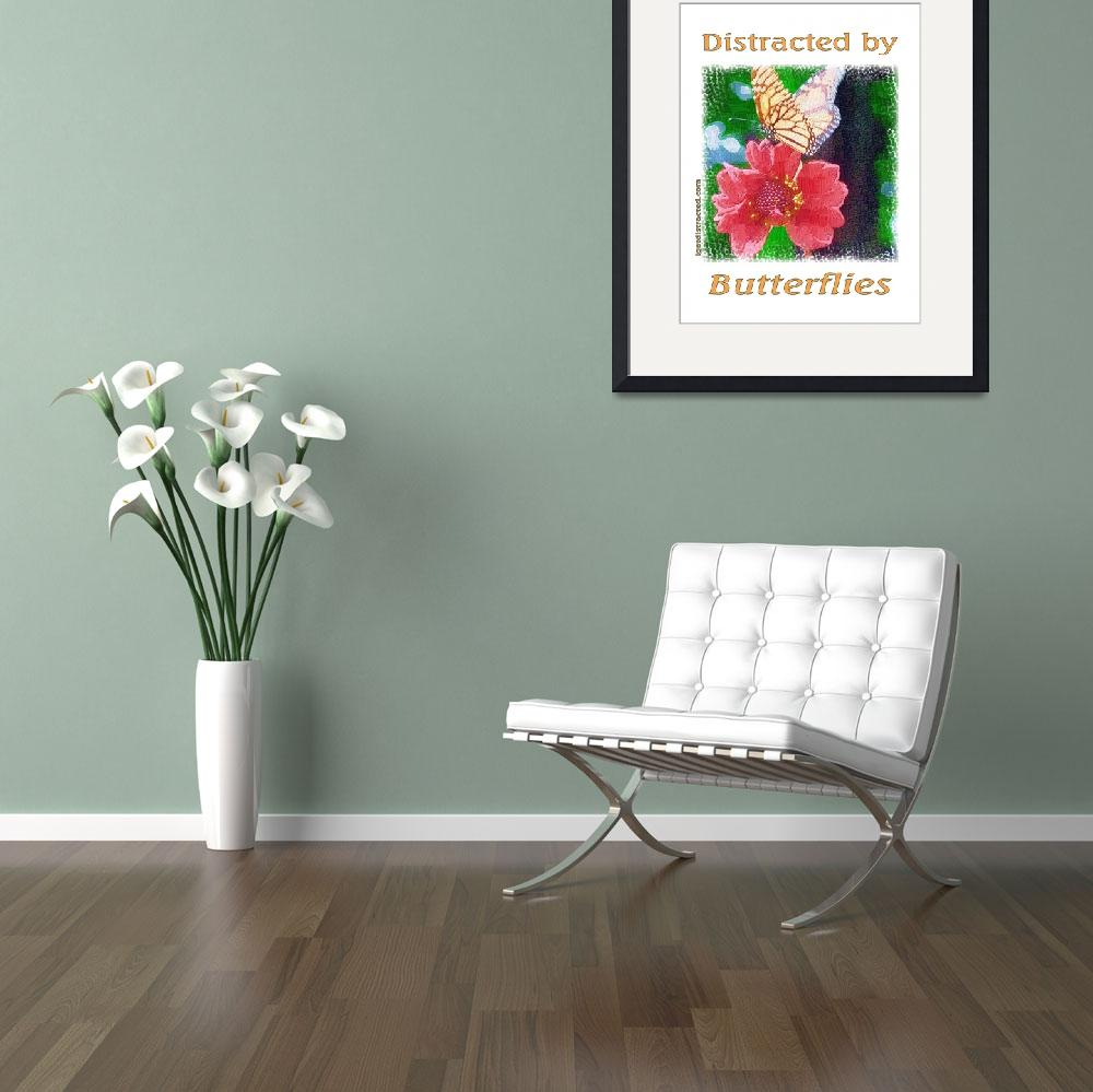 """""""Distracted by Butterflies 04167 Impasto Print&quot  by quotes"""